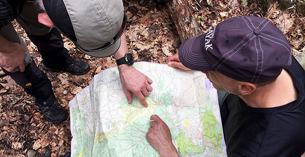 studying a map